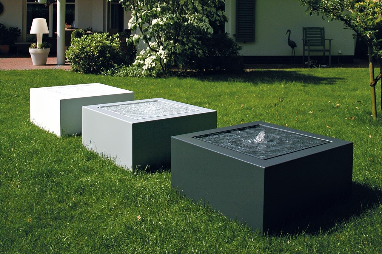 Aluminium-Gartenbrunnen moderner Kubusbrunnen Wassertisch