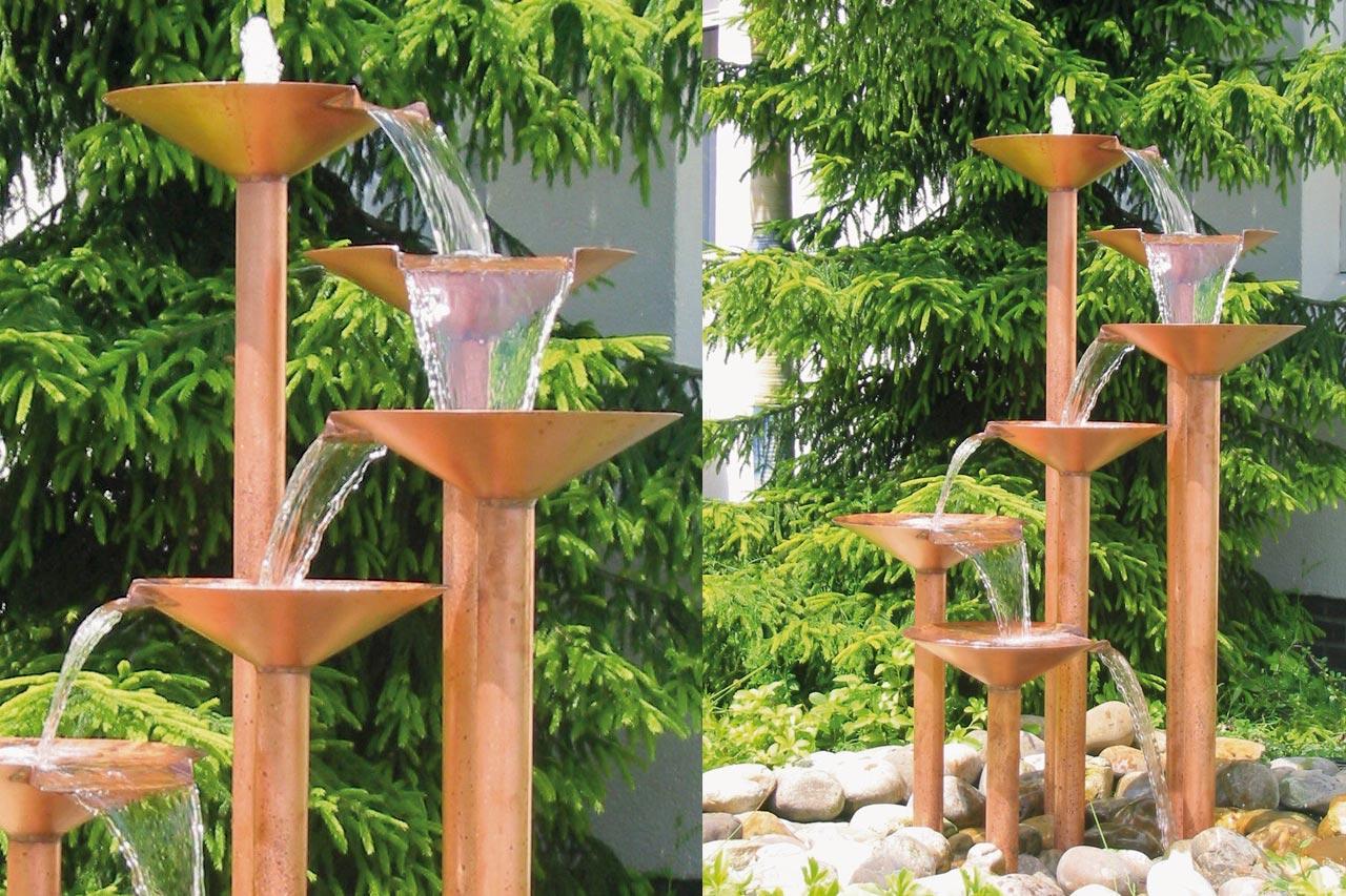 Großer Kupfer-Gartenbrunnnen Kupfer-Wasserspiele Luxus Design Wasserkaskade Gartenspringbrunnen Hotelanlage Ferienanlage Gastronomie
