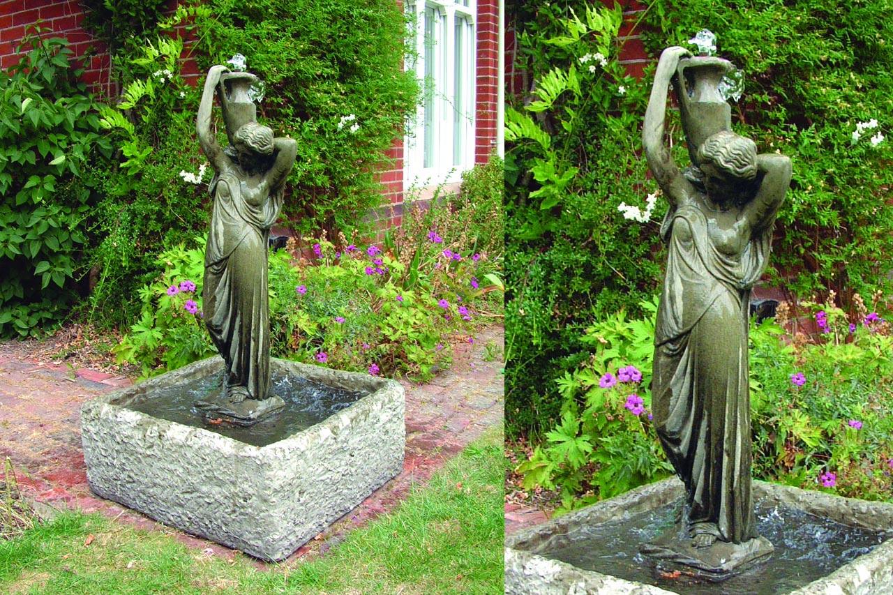 Klassischer Gartenrbunnen Brunnenfigur Brunnenskulptur Steinbrunnen Frau mit Krug Antiker Gartenbrunnen für Bauerngarten Hof Park Schloss Burg