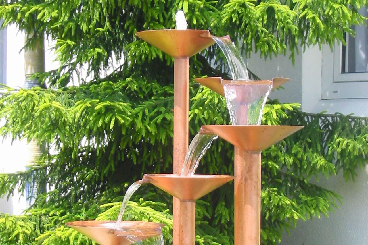 Kupfer-Gartenbrunnen Gartenspringbrunnen aus Kupfer Kupferbrunnen Kaskadenbrunnen
