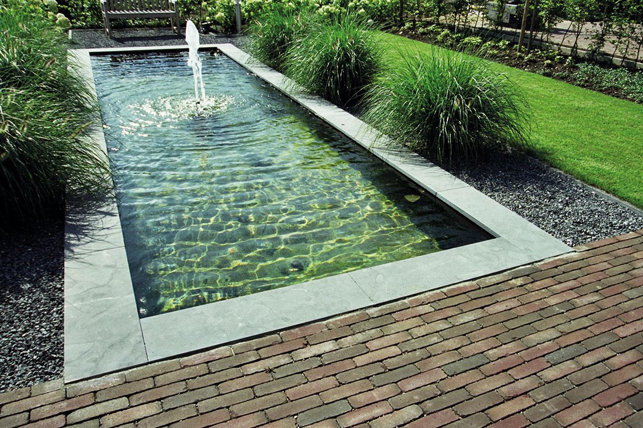 Fontäne, GFK-Rechteckbecken, Wasserbecken, Gartenteich modern